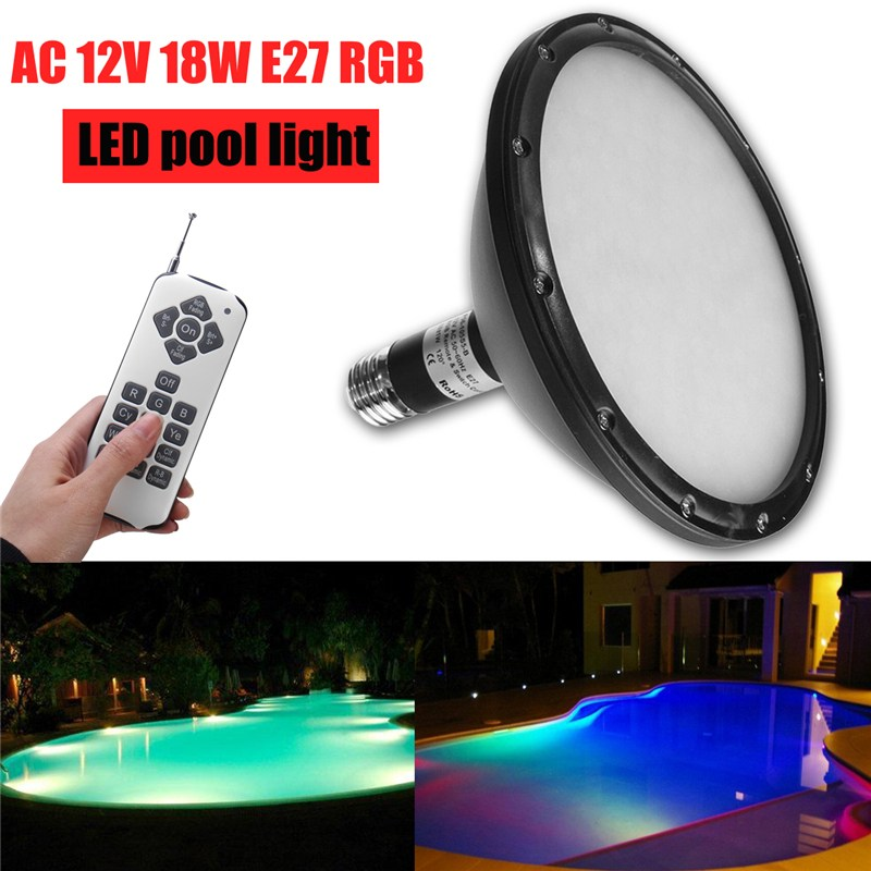Swimming LED Pool Lights AC 12V E27 18W RGB Underwater Light With Remote Controller IP68 Waterproof Outdoor Lamp Pond Light 10w 450 lumen waterproof rgb led underwater lamp light with remote controller dc 12v