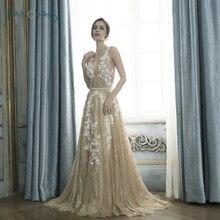 ФОТО new sparkly evening dresses long v-neck a-line applique gold prom dress 2018 beaded lace evening gown vestido de fiesta en5