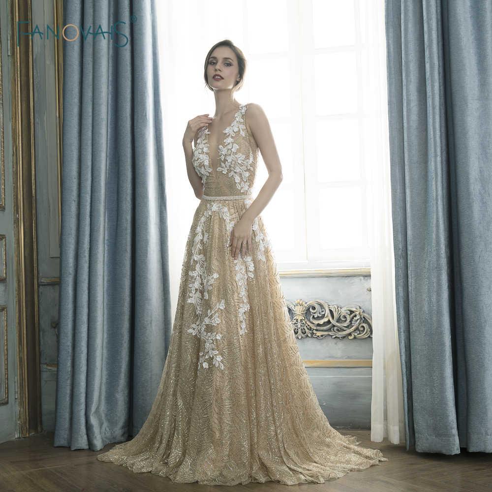 ac7d53a8d44f275 Новые блестящие вечерние платья Длинные v-образным вырезом линии аппликация  золото платье для выпускного вечера