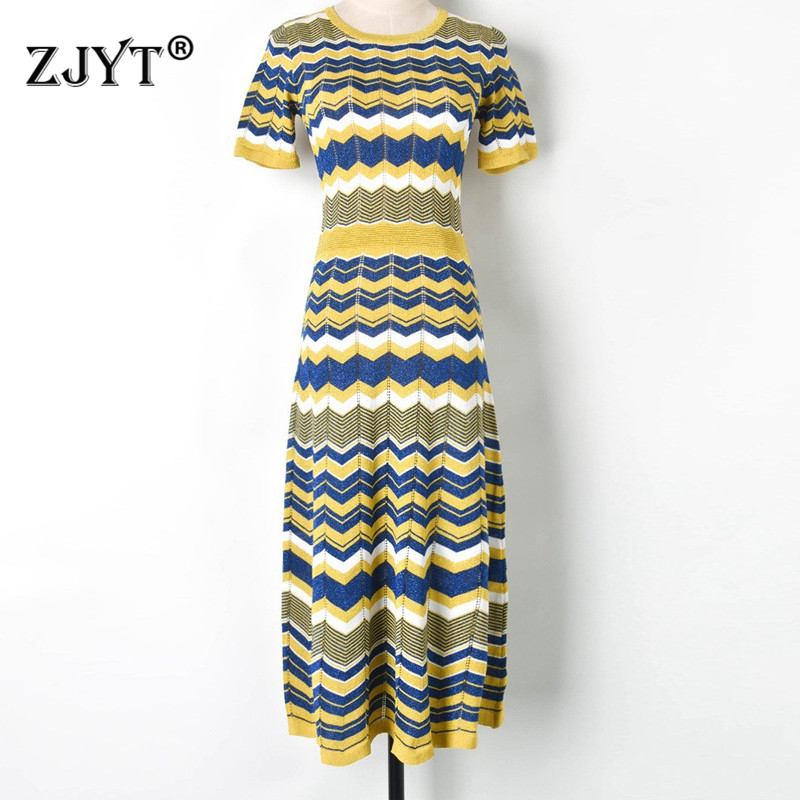 New Arrival Summer Designer Hollow Out Striped Knit Dress Women Fashion Short Sleeve Color Block Striped