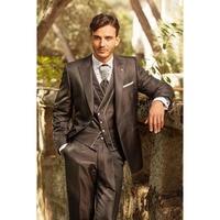 2017 Latest Coat Pant Designs Italian Dark Brown Men Suit Tuxedo Groom Slim Fit 3 Pieces mens Suits Custom Prom Blazer Masculino