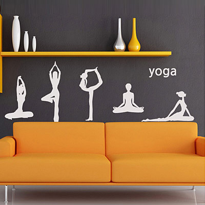 Free shipping sports yoga school wall stickers glass decals for pub bar shop home decor decoration