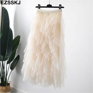 Image 5 - chic irregular Mesh skirt women spring autumn 2019 new multi layer tutu cake skirt fluffy ruffled long tulle skirt female