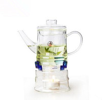 350ml Glass flower tea pot with teapot base including: teapot1,candle1, tea strainers1,heater1 unique chinese gift for tealovers