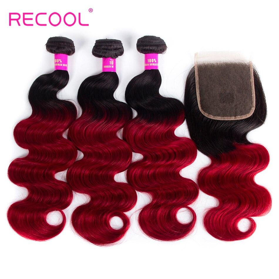 Recool Омбре бразильские волосы на теле человеческие пучки с закрытием 1B бордовый