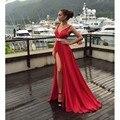 Sexy Red Chiffon Prom Vestidos V Profundo Neck Pavimento Length alta parte slit dress para a graduação custom made mais recente vestido projeto