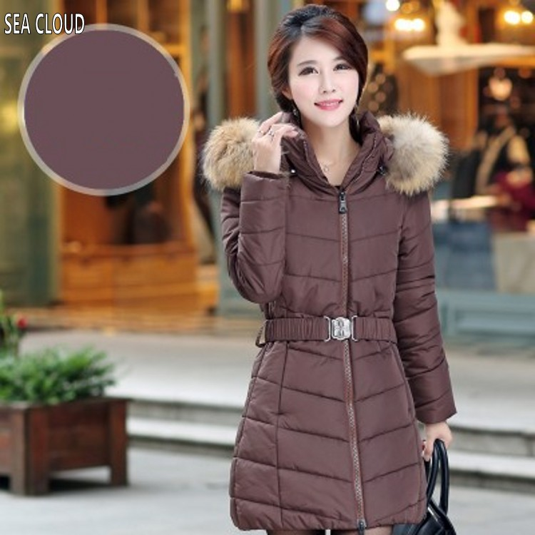 Free shipping Winter plus size clothing outerwear medium-long coffee cotton-padded jacket thickening wadded jacket 5xl