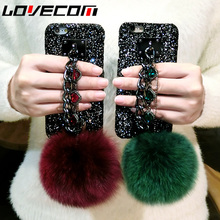 Luxury Glitter powder Fox Fur Ball Bling Diamond Cyrstal Chain Hard Phone Case Coque Back Cover for iPhone 6 6s 7 Plus Case Capa