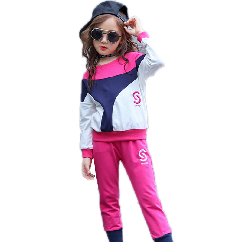 girls clothing kids outfits top long sleeve hoodies+pants 2 pieces suit sets 4-13T girl sportwear children sets girls tracksuit