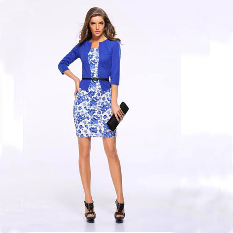 New business attire dress Square collar slim professional dress party dress plus size women dresses Fake two workwear + belt short dresses office wear