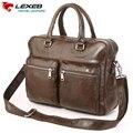 2016 Nova Venda Lexeb Verdadeiro Saco De Couro dos homens Marca de Luxo Designer de Couro Sacos de Ombro 15.6 Bolsas de Laptop de Alta Qualidade maleta