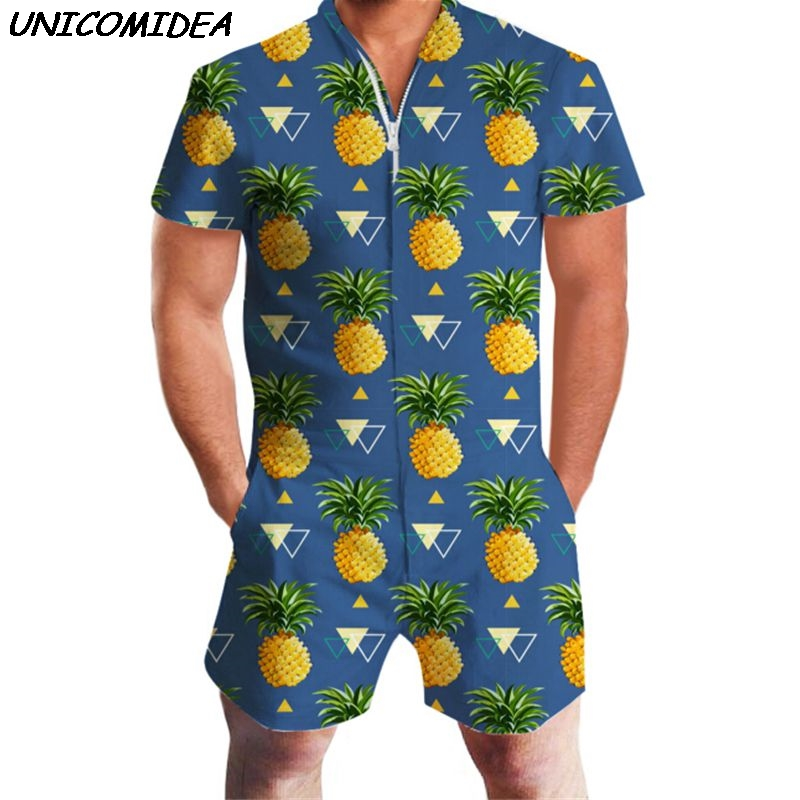 Pineapple Print Men Romper Hawaii Jumpsuit Romper Summer Hoiday Playsuit Overalls One Piece Slim Fit Beachwear Casual Men's Sets