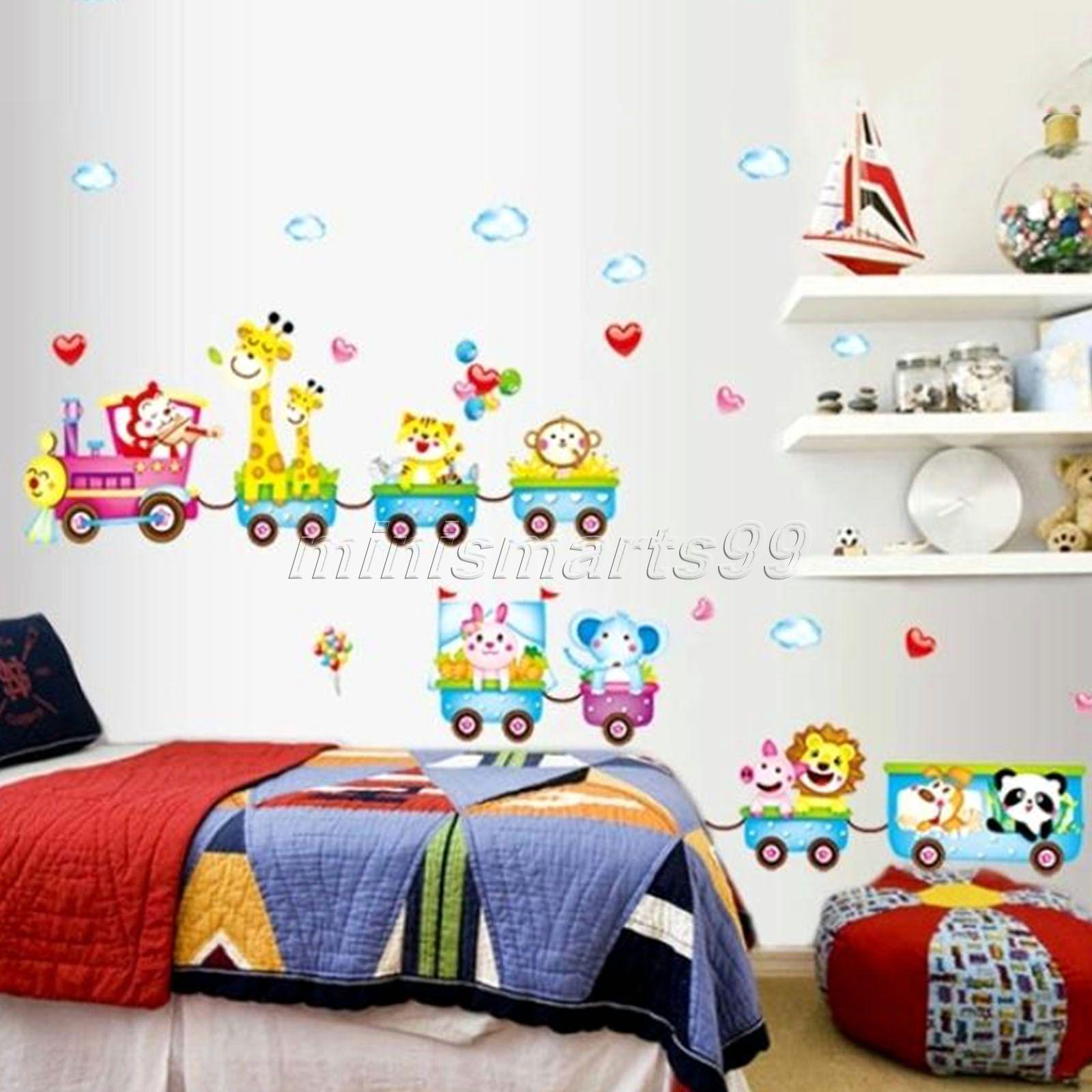 Karton tiere zug wandaufkleber für kinderzimmer dekoration diy 3d ...