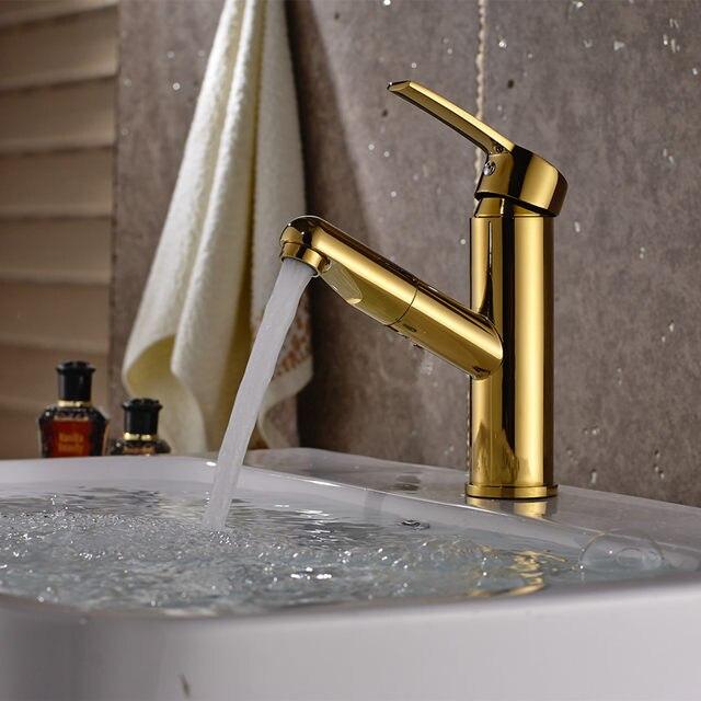 Pull Out Brush Nickel Basin Sink Tap Bathroom Faucet Down Sprayer Crane Shower Head Chrome Mixer