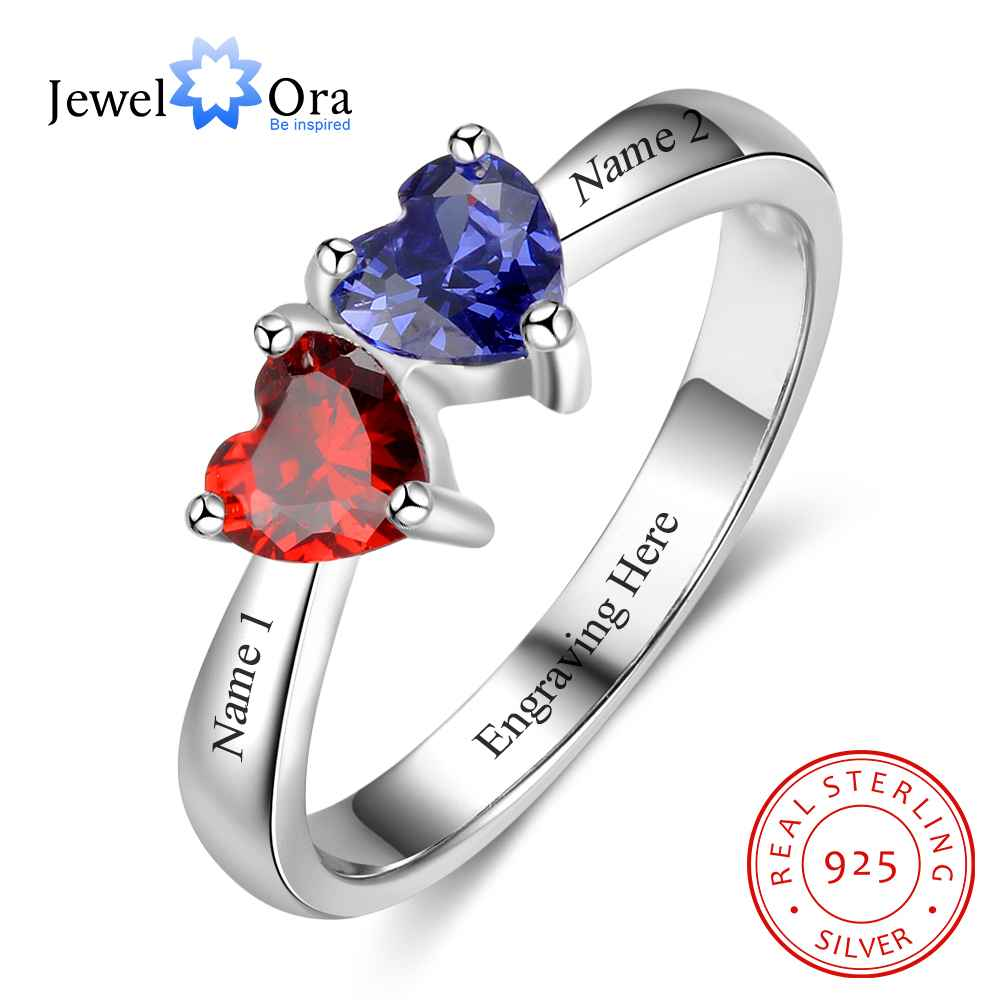 personalized heart birthstone custom engrave 2 names promise ring love 925 sterling silver anniversary gift jewelora ri103269 Double Heart Personalized Ring Custom Engrave Names & Birthstone Promise Rings 925 Sterling Silver Jewelry (JewelOra RI103274)