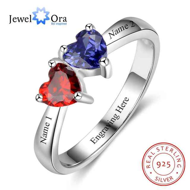 5e25f385008c7 US $23.99 40% OFF|Double Heart Personalized Ring Custom Engrave Names &  Birthstone Promise Rings 925 Sterling Silver Jewelry (JewelOra RI103274)-in  ...
