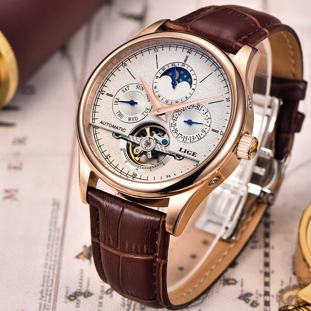 Relojes Para Hombre de marca de lujo LIGE reloj mecánico automático de Tourbillon deportivo de cuero reloj de pulsera informal de negocios Relojes masculinos
