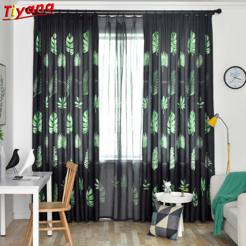 US $5.69 33% OFF|Blackout Curtains for Living Room American Rustic  Decorative Kitchen Window Green Leaves Printed Bedroom Curtain Panel WP171  *30-in ...