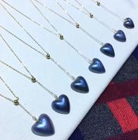 Trasporto libero Naturale 14*14mm Maba perla pendente del Cuore della collana O catena 18 k oro massiccio