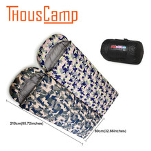 Outdoor ultra-light feather sleeping bag winter indoor thickening warmth can fight double camp lodging camouflage