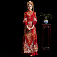 Bride Modern Cheongsam Chinese Traditional Dress Wedding Qipao Su Embroidery Dress Robe Chinoise Oriental Style Evening Gown