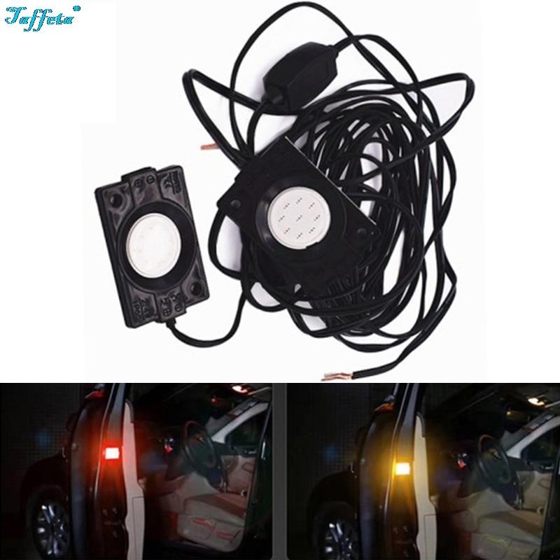 2PCS Universal Car COB door collision warning light Open Flash Warning Signal Lamp Red Anti Rear End Collision Black