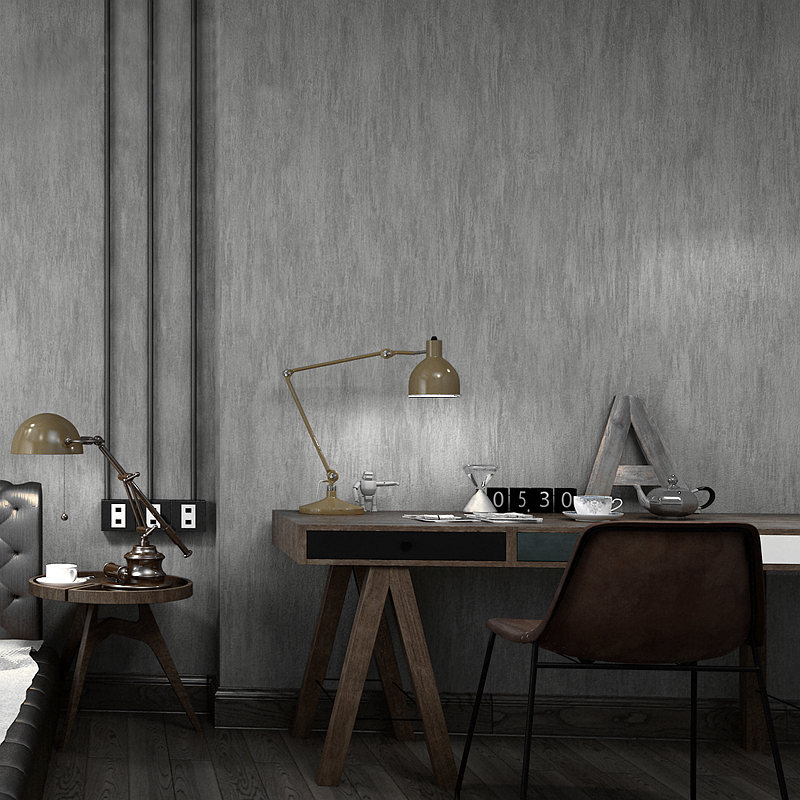 Black Dark Gray Cement PVC 3D Deep Embossed Waterproof Wallpaper Bedroom Living Room Clothing Store Solid Color Wall Paper Rolls
