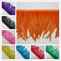 Hot sales 5 yards Quality Chicken Rooster Tail Feather Trims Ribbons 35 40CM Strip for Dress Skirt Party Clothing Craft Making