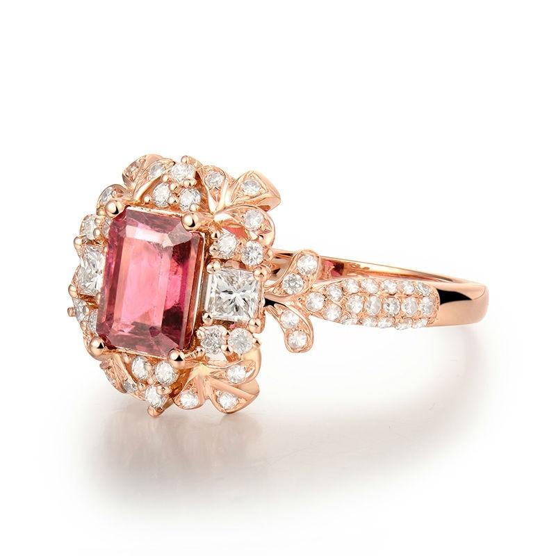 Nieuwste Arrivals Engagement Emerald Cut 5x7mm 18Kt Rose Gold Natuurlijke Diamant Roze Toermalijn Ring Sieraden Loving Gift voor Vrouwen-in Ringen van Sieraden & accessoires op  Groep 2
