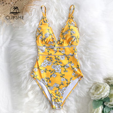 CUPSHE Sexy Yellow Pear Blossom Floral Print One-Piece Swimsuit 2020 Women Boho Bathing Suits Swimwear(China)