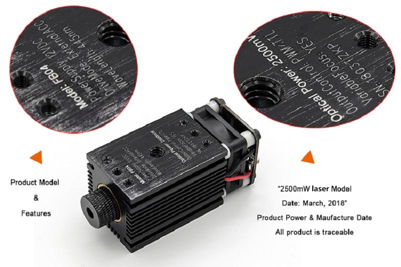 2500mW 12V DC Laser Module DIY CNC Laser Engraving Machine Part Laser  Cutting Head Focusing 2 5W 445nm 2p Interface with TTL PWM