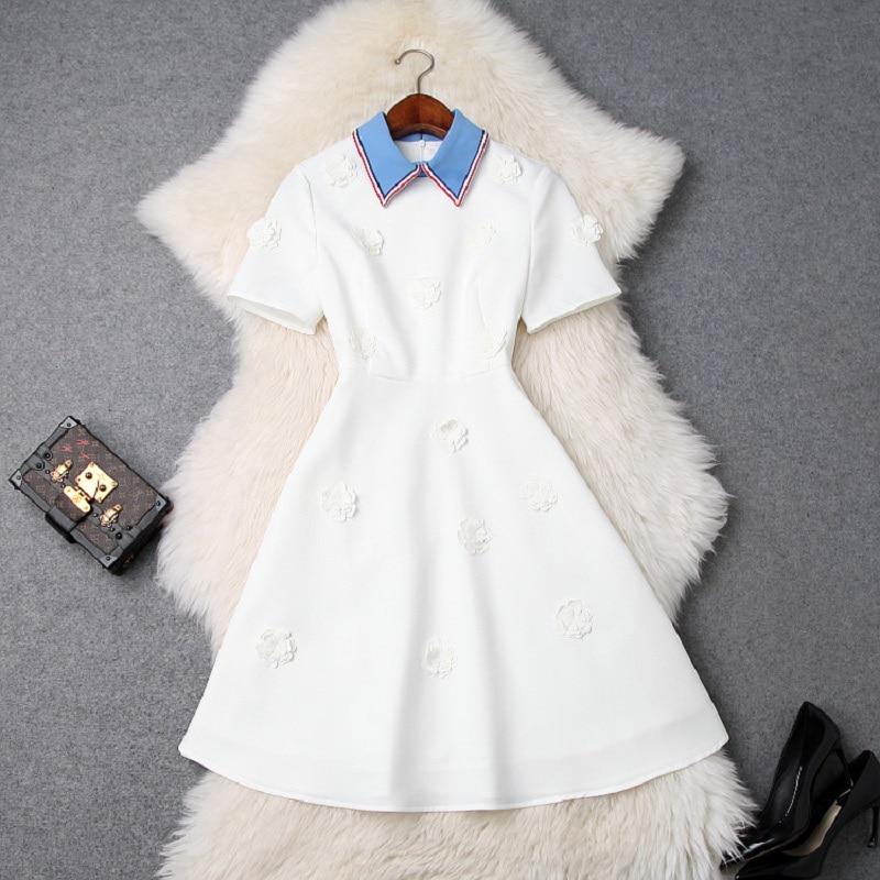 woman Flower party dress 2019 new High quality spring summer elegant shirt Dress A Line Short