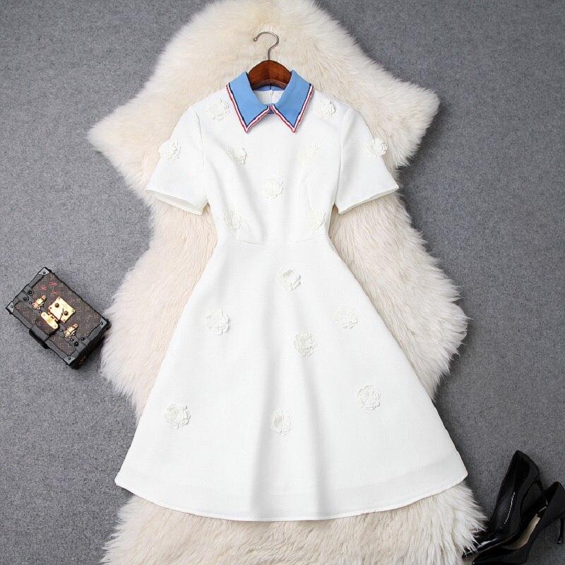 Femme fleur fête robe 2019 nouvelle haute qualité printemps été élégante chemise robe une ligne manches courtes doux robes blanc noir-in Robes from Mode Femme et Accessoires on AliExpress - 11.11_Double 11_Singles' Day 1