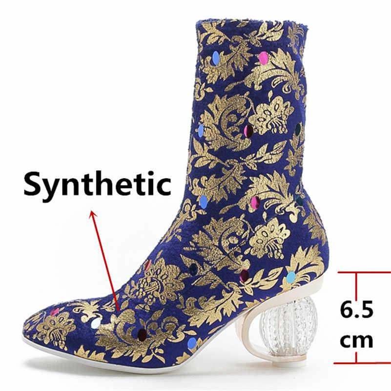 FEDONAS/Элегантные полусапожки «Челси» на высоком каблуке с круглым носком; сезон осень-зима; женские ботильоны с принтом; Новинка 2020 года; женская обувь для вечеринок
