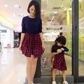 Семейные одежда с длинным рукавом красный плед рубашки моды рубашка для матери отец сына и daguhter рубашка пуловер груза падения