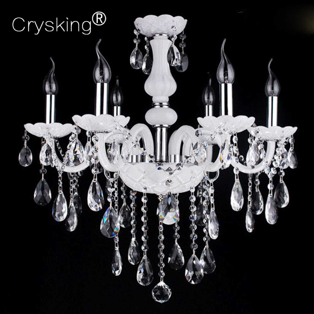 6 Arms Chandelier Crystal Lustres Light Dining Living Room Pendant Luminaria for Home Bar Cafe LED Chandelier Lamp Candelabro