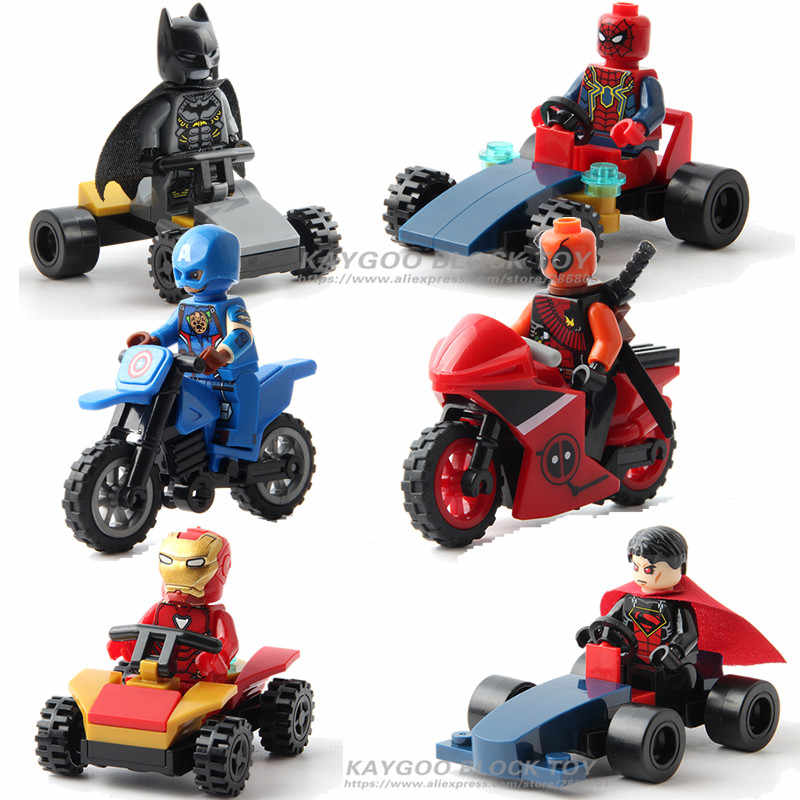 Iron Ant Man Thor Captain Black Panther Super Heroes Figures with Motorcycle Building Blocks Bricks Toys for Children Kids Gifts