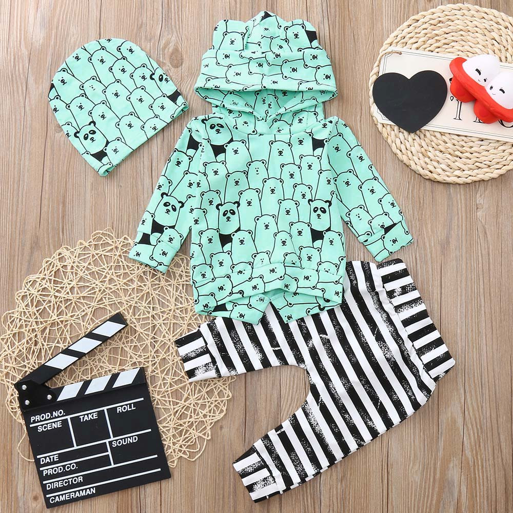 Infant Baby Boys Girls Long Sleeve Animal Print Tops Pants Outfits Clothes