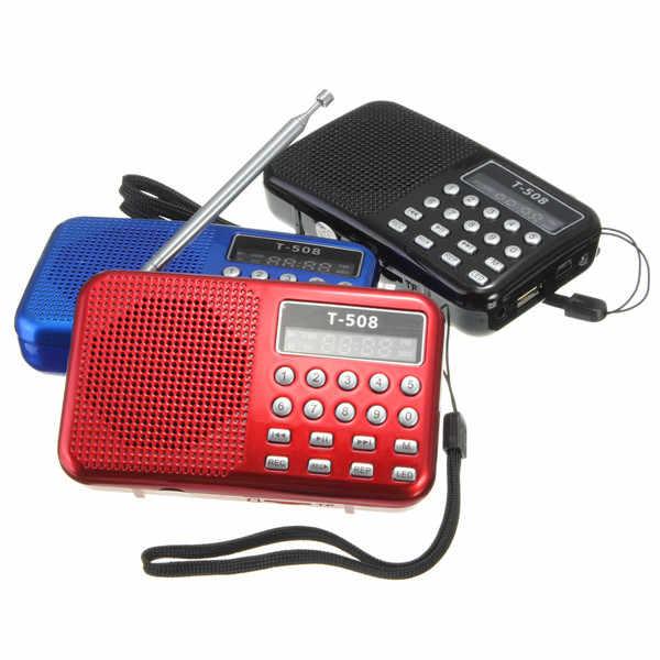 Mini Draagbare Oplaadbare Digitale LED display panel Stereo FM Radio Speaker USB TF mirco voor Sd-kaart MP3 Muziekspeler