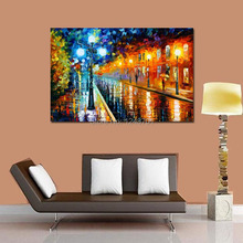 Handpainted modern city light view PALETTE KNIFE Cityscape Modern Wall Art Textured Oil Painting On Canvas