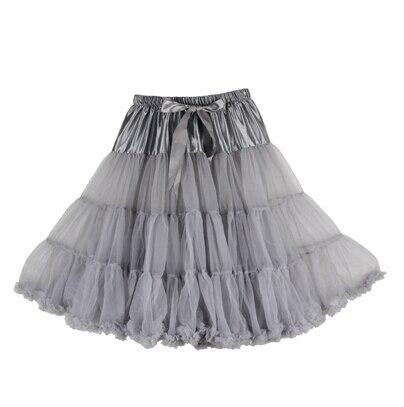 Евро ЗО, проверка, Нижняя юбка для женщин, шифоновая юбка-американка, юбка-пачка для взрослых, бальное платье, для танцев, летняя, 65 см, длинная юбка, сексуальная, однослойная - Цвет: grey