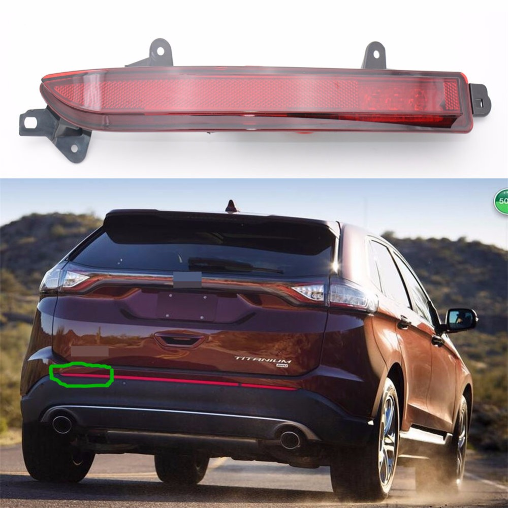 1Pcs Left Driver Side Auto Rear Reflector Light Tail Fog Lamp Red Lens For Ford Edge 2015-2016
