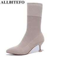 ALLBITEFO Fashion Pointed Toe Medium Heel Women Boots New Spring Thin Heel Women Boots Girls Boots