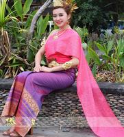 Asian Minority costume Dai princess dress Thailand traditional special dress female Rose red veil shoulder sleeveless clothes
