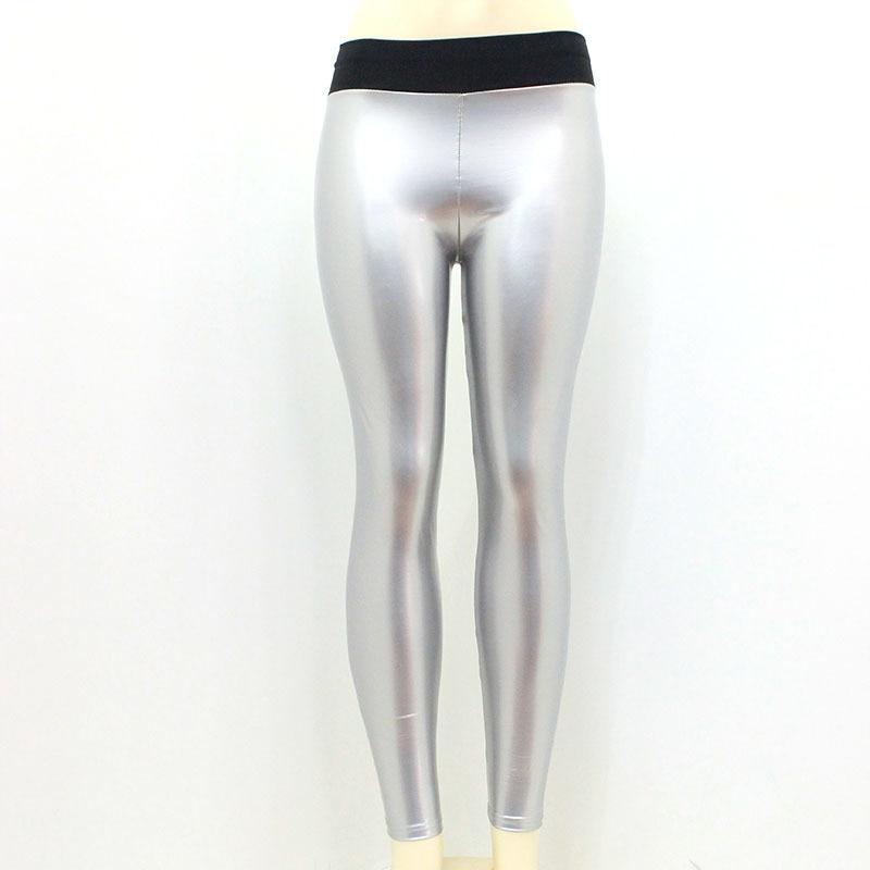 Image 3 - Women Vinyl Leggings Wet Look PU Leather Leggings Black Slim Long Pants Women Sexy Push Up Skinny Red Silver Leggings Leggins-in Leggings from Women's Clothing