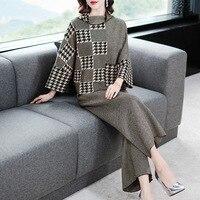 Свободный рукав летучая мышь водолазка эластичный вязаный пуловер свитер и широкие брюки 2 шт. брюки костюмы 2018 Новый женский осенний костю