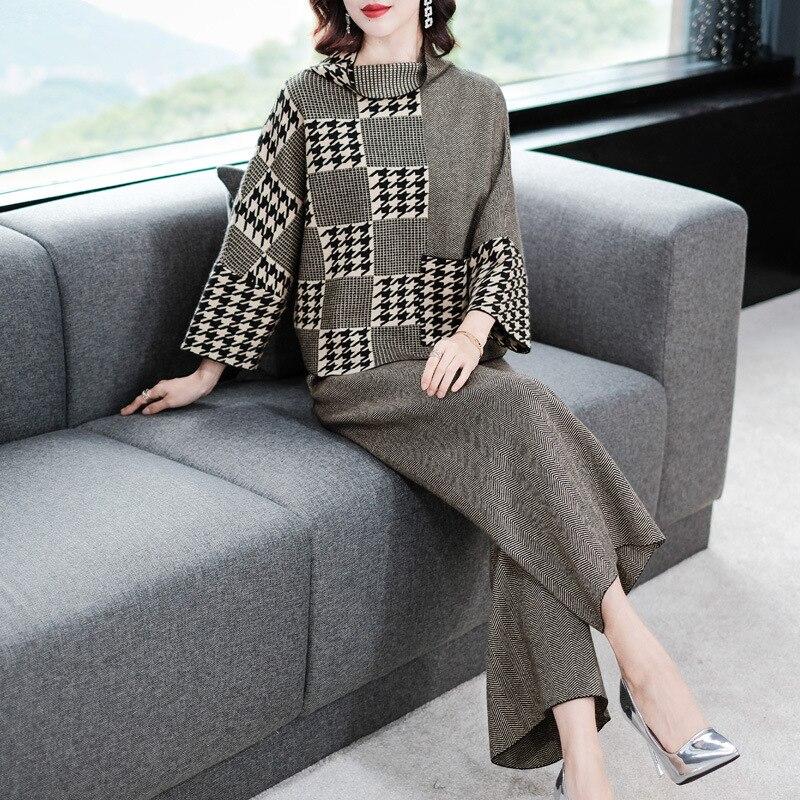 Loose Bat Sleeve Turtleneck Elastic Knit Pullover Sweater And Wide Leg Long Pants 2 Piece Pants Suits 2018 New Women Autumn Suit