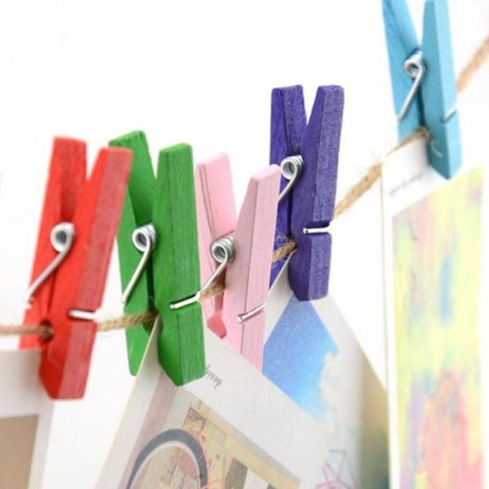 50PCS Small White Wooden Clothes Clips Paper Craft Scrapbooking Clothespin