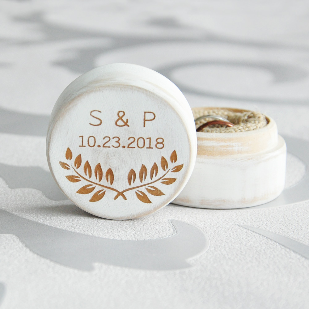Wedding Ring Box, Vintage White Ring Box Personalized Valentines Engagement Wooden Ring Bearer Box, Rustic Wedding Ring Box box