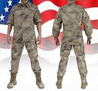 Homens novos da Chegada Prevista A-tacs Camuflagem Do Exército Americano CS Campo Camuflagem Militar Ternos Uniformes de Treinamento Ao Ar Livre Homens Roupas de Caça